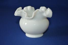 Fenton Milk Glass White Rose Bowl Ruffled Top 1960's - $9.90