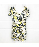 Uniqlo Vera Bradley Women's Yellow Floral V-Neck Tee Top Size Small S T-... - $19.79