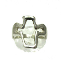 R001320 STERLING SILVER Ring Cross Solid 925 - $224,65 MXN