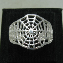 R001123 Sterling Silver Ring Solid 925 Spider Web - $12.00