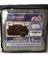 H. Versailtex Stretch Furniture Loveseat Cover -Grey Checked Jacquard Fa... - $26.73