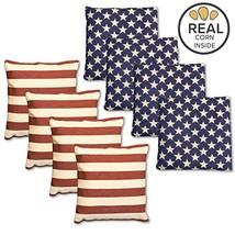 Corn Filled Cornhole Bags - Set of 8 American Flag Bean Bags for Corn Ho... - $21.53