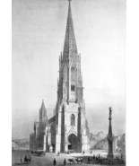 GERMANY Freiburg Munster Cathedral - SUPERB 1843 Antique Print - $53.96