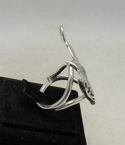 R001014 STERLING SILVER Ring Solid 925 Big Flying Eagle Adjustable Size