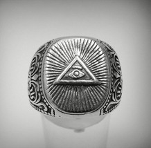 R001212 STERLING SILVER Ring Solid 925 Eye of the Providence - $670,33 MXN