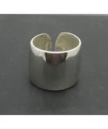 R000755 Wide STERLING SILVER Ring Solid 925 Plain Band Adjustable Size - $23.40