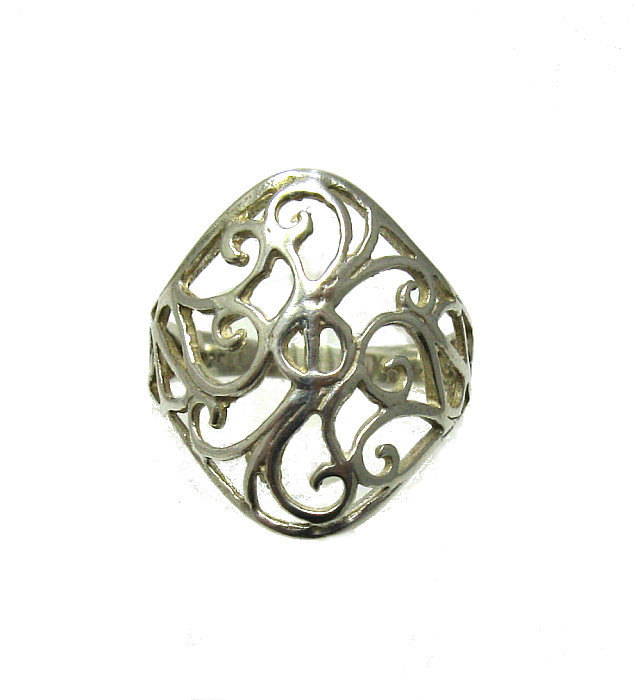 R001321 Light STERLING SILVER Filigree Ring Solid 925
