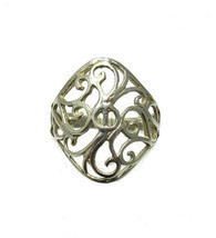 R001321 Light STERLING SILVER Filigree Ring Solid 925 - $7.50