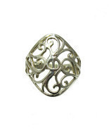R001321 Light STERLING SILVER Filigree Ring Solid 925 - £5.38 GBP