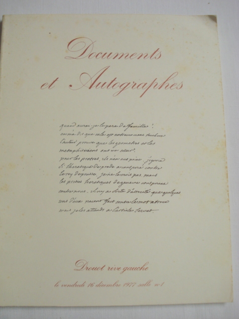 Six Autographs and Documents Catalogues IN FRENCH from 1976-1977