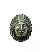 R001356 STERLING SILVER Ring Solid 925 Indian Chief - $36.00