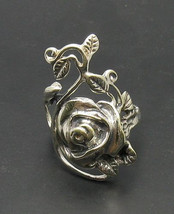 R000262 Stylish Sterling Silver Ring Solid 925 Rose Flower - $18.00