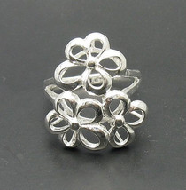 R000714 Stylish STERLING SILVER Ring Solid 925 Flower - $288,01 MXN