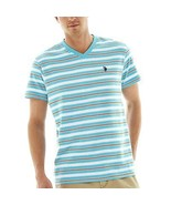 U.S. Polo Assn. Striped Short-Sleeve V-Neck Tee Size M, L New Msrp $34 - $16.99