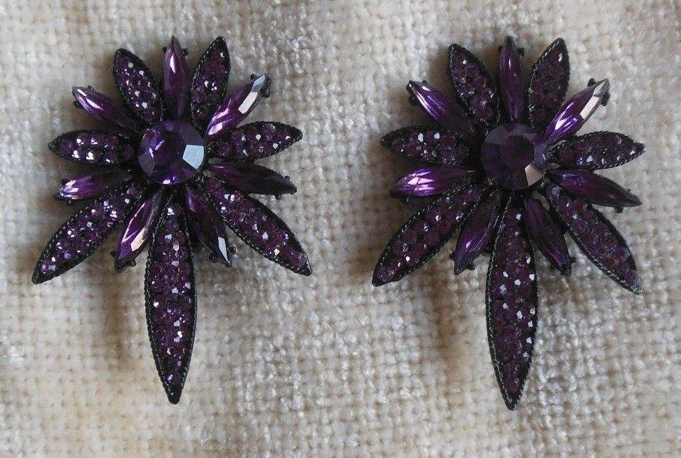 Vintage Signed Thelma Deutsch Floral Purple Rhinestone/Crystal Clip-on Earrings
