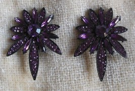 Vintage Signed Thelma Deutsch Floral Purple Rhinestone/Crystal Clip-on E... - $123.75
