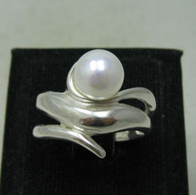 R001130 Stylish STERLING SILVER Ring Solid 925 with 8mm Pearl - $288,01 MXN