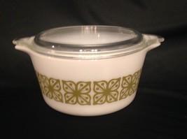 Pyrex Square Flower Verde Cinderella # 473 1QT Autumn Casserole Dish Bowl & Lid - $13.99