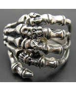 R001024 STERLING SILVER Biker Ring Solid 925 Death Hand Skull - $28.80