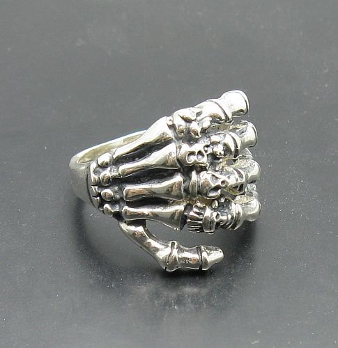 R001024 STERLING SILVER Biker Ring Solid 925 Death Hand Skull