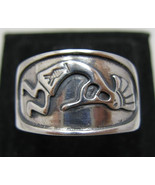R001074 STERLING SILVER Ring Solid 925 Kokopelli Band - $19.50