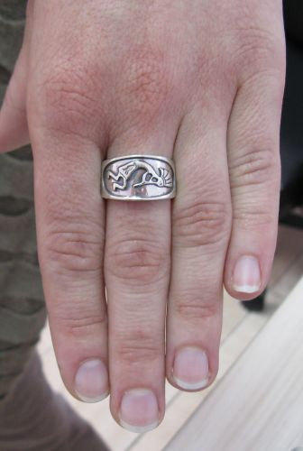 R001074 STERLING SILVER Ring Solid 925 Kokopelli Band