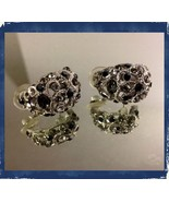 Vintage Smoke/Black/Clear Huggie Style Cluster Occasion Wedding Pierced ... - $17.99