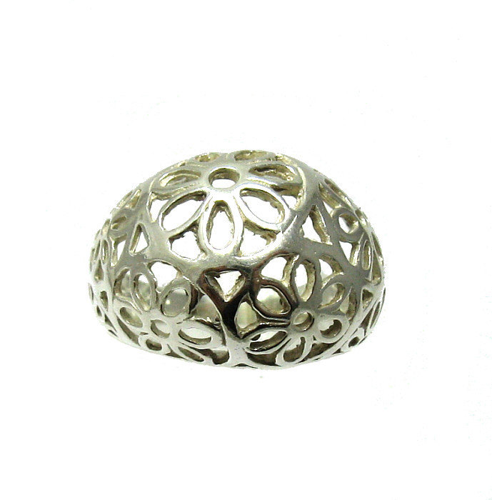 R001359 STERLING SILVER Ring Solid 925 Flower Band