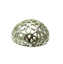 R001359 STERLING SILVER Ring Solid 925 Flower Band - $264,75 MXN