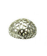 R001359 STERLING SILVER Ring Solid 925 Flower Band - €12,11 EUR