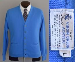 Vintage 60s Blue Grandpa Cardigan Sweater Size Medium to Large - $59.99