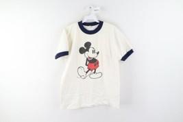 Vintage 70s Walt Disney Mens Size Large Mickey Mouse Ringer T-Shirt White USA - $98.95