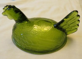 Emerald Green Indiana Glass Hen On Nest Top Of Candy Covered Dish TOP ONLY - $6.93