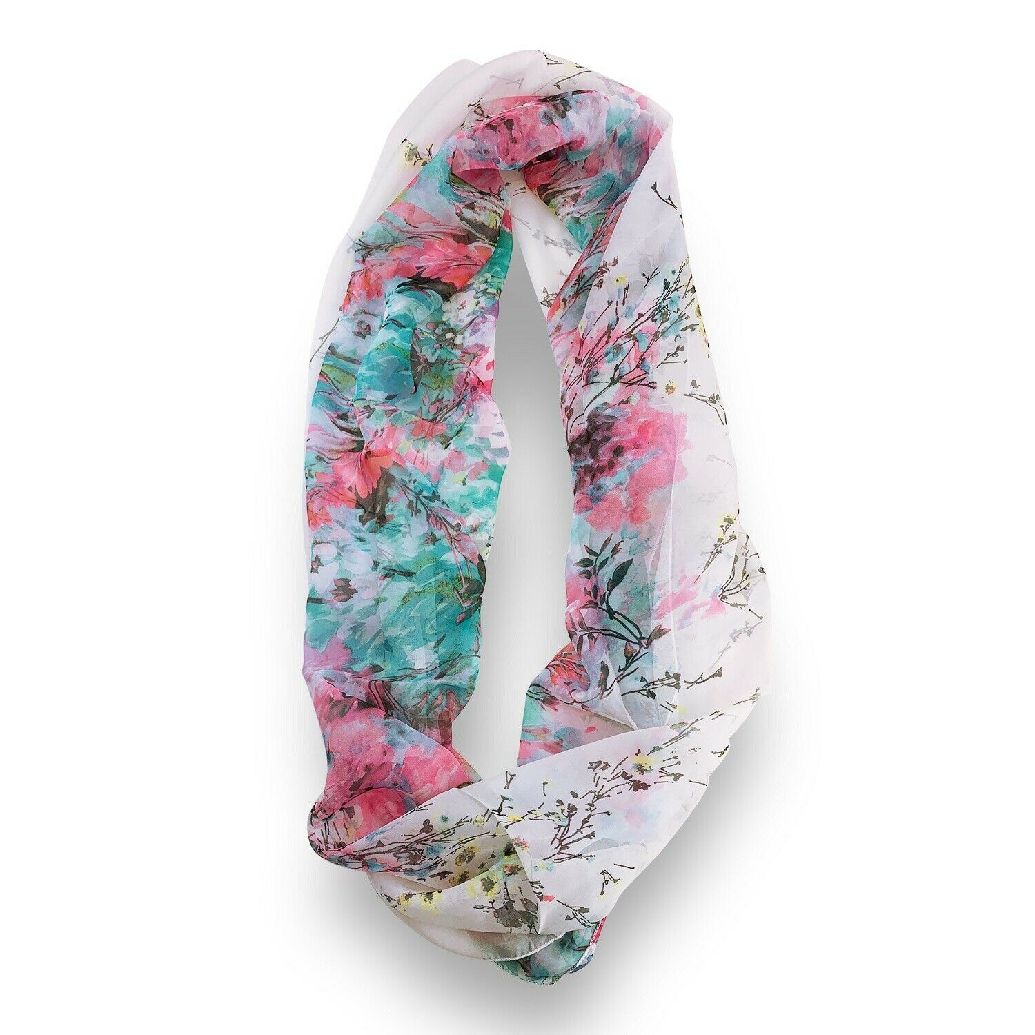 Primary image for Pink Turquoise Floral Sheer Infinity Scarf Loop Sheer Wrap Scarves Womens Shawl