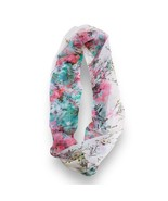 Pink Turquoise Floral Sheer Infinity Scarf Loop Sheer Wrap Scarves Women... - €8,71 EUR