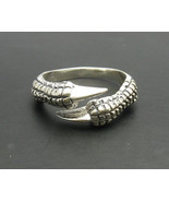 R000163 Stylish STERLING SILVER Ring Solid 925 Claws Raven Dragon Biker ... - $24.00