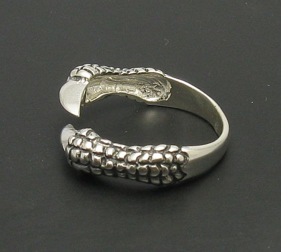 R000163 Stylish STERLING SILVER Ring Solid 925 Claws Raven Dragon Biker Gothic
