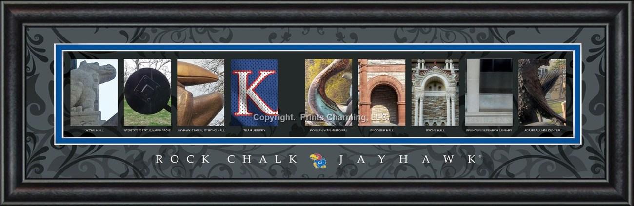 University of Kansas Officially Licensed Framed Letter Art 3 Versions