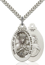Sterling Silver O/L of Czestochowa Pendant 1 1/8 x 5/8 inch with 24 inch Chain - $63.00