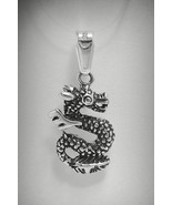 PE000857 Sterling Silver Pendant Charm Solid 925 Dragon - $9.60