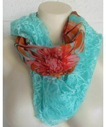 Just Be aqua lace tropical floral chiffon infinity scarf - $105,75 MXN