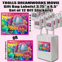 Trolls Stickers Party Favors Supplies Gift Bag Labels STICKERS ONLY 12 PCS - $14.80