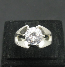 R000983 Stylish STERLING SILVER Ring Solid 925 with 9mm Round Cubic Zirconia - $27.00