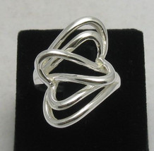 R000220 Stylish  STERLING SILVER Ring Band Solid 925  Double Heart Valentine - $14.10