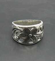 R000798 Sterling Silver Ring Solid 925 Flower Band - $18.00