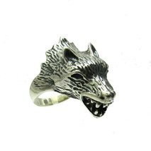 R001357 STERLING SILVER Ring Solid 925 Wolf Head - $910,13 MXN