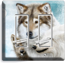 Wild Gray Wolf Family Winter 2GFCI Switch Outlet Wall Plate Cover Room Art Decor - $11.69