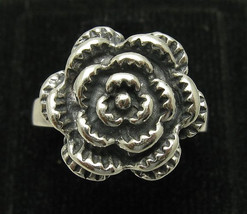 R001050 Sterling Silver Ring Solid 925 Oxidized Flower - $17.70