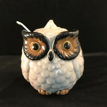Owls - Condiment Jar With Lid In The Shape Of An Owl Handpainted Vintage - $22.28