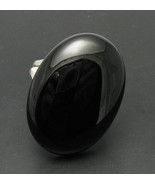 R000312 STERLING SILVER Ring Solid 925 Huge Natural Black Onyx  Adjustab... - $33.00